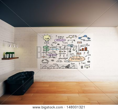 Modern interior with business sketch on whiteboard black leather sofa shelf with decorative plants lamps white brick walls and wooden floor. 3D Rendering