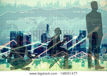 Meditating sitting and standing businesspeople silhouettes on forex chart background. Financial growth concept