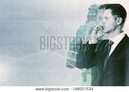 Side view of businessman using cellphone on abstract background with business chart. Financial growth concept. Double exposure.
