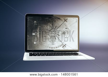 Abstract laptop computer with closed bank vault on screen. Purple background. Online banking concept. 3D Rendering