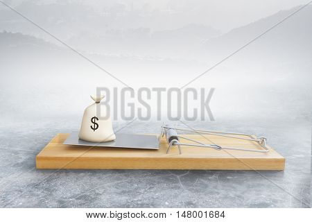 Mousetrap with money sack on abstract background. Risk concept. 3D Rendering
