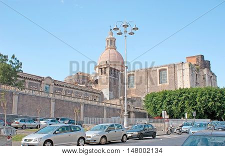 CATANIA ITALY - OCTOBER 10 2012: The high dome of the St Nicholas Arena Church located at the former Benedictine monastery nowadays hosting the department of local University Dante Square on October 10 in Catania.