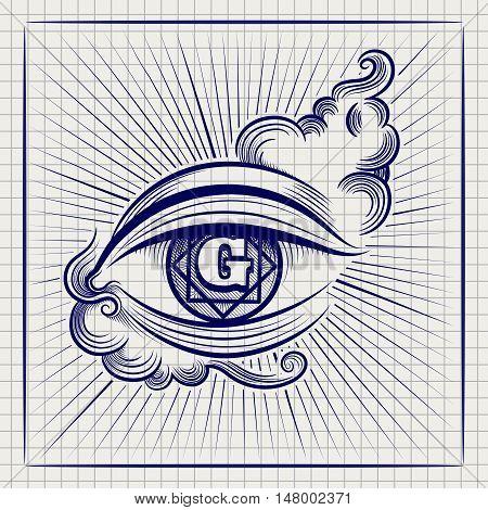 Ball pen sketch of Egypt God eye or spiritual eye on notebook page. Vector illustration