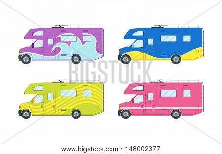 Modern flat camper van set. Car for family travel. Concept of outdoor recreation and travel around the world.