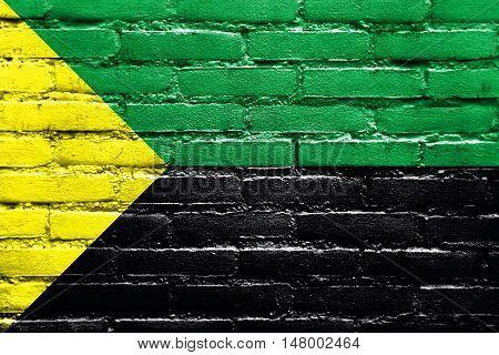Flag Of Puerto Francisco De Orellana, Ecuador, Painted On Brick Wall