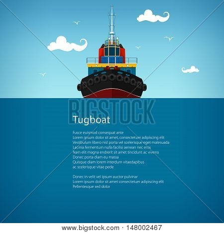 Front View of the Tugboat, Pushboats for Towage and Mooring of Other Courts , Poster Brochure Flyer Design, Vector Illustration