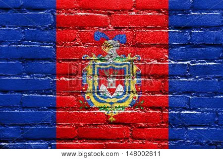 Flag Of Quito, Ecuador, Painted On Brick Wall