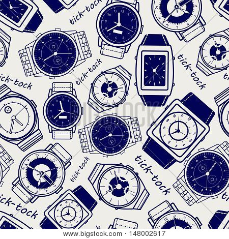 Seamless pattern with watches ball pen imitation vector