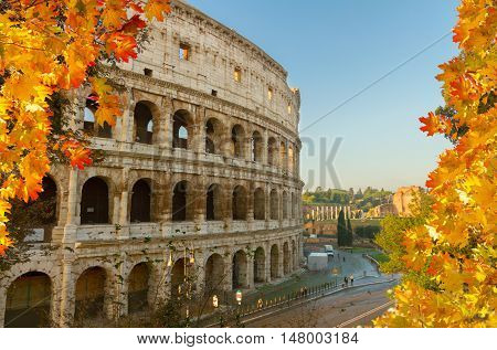 close up view of Colosseum building in Rome at fall day, Italy