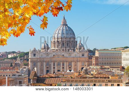 cityline of Rome with St. Peter's cathedral at fall day, Italy