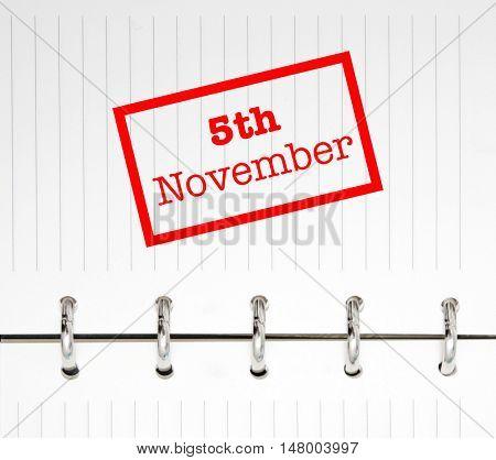 5th November written on an agenda