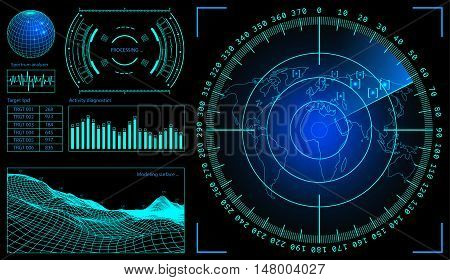 Military green radar. Screen with target. Futuristic HUD interface. Stock vector illustration.