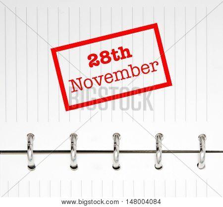 28th November written on an agenda