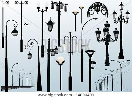 ilustração com coleção de lâmpadas de rua