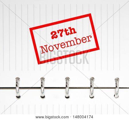 27th November written on an agenda
