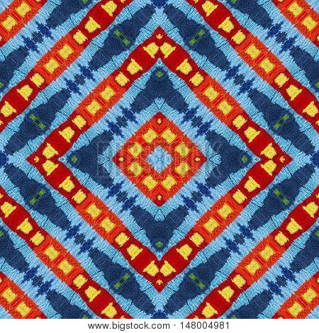 Wool vivid colorful pattern background for scrapbook top view. Collage with mirror reflection. Seamless kaleidoscope montage for cushion blanket pillow plaid tablecloth cloth bed cloth