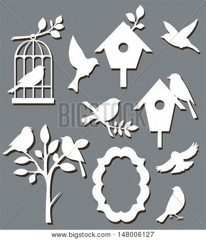 Set of paper birds. Decorative vector silhouette