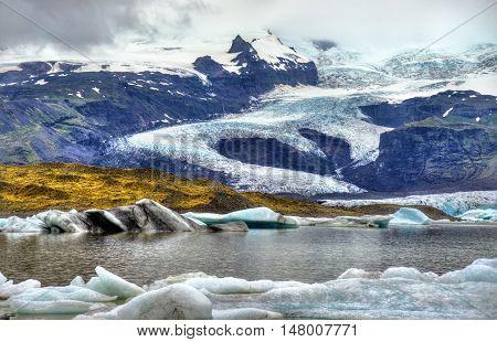 View of Fjallsarlon Glacier Lagoon in South Iceland