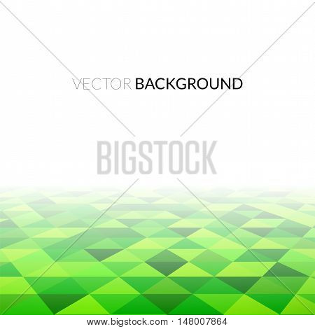 Abstract green triangle field, perspetive pattern in fog, geometrical vibrant multicolored vector background illustration