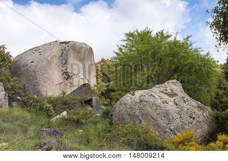 Granite boulders in Sierra de la Cabrera, Madrid, Spain