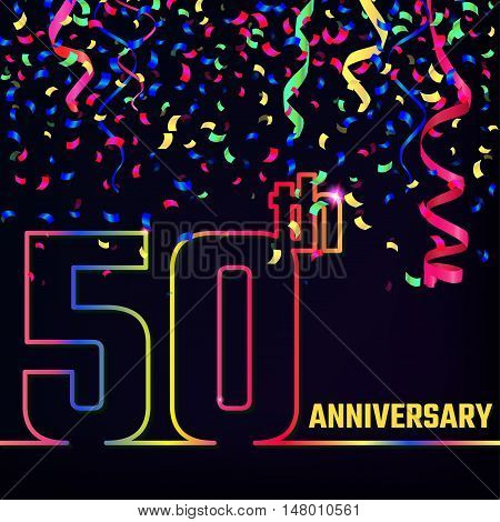 Vector Illustration of Anniversary 50th Outline for Design, Website, Background, Banner. Jubilee silhouette Element Template for festive greeting card. Shiny colorful Confetti celebration