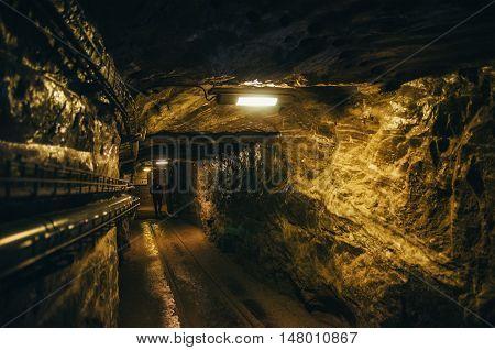KRAKOW POLAND - JUNE 26 2015: Underground corridor in Wieliczka Salt Mine Danilowicz shaft.