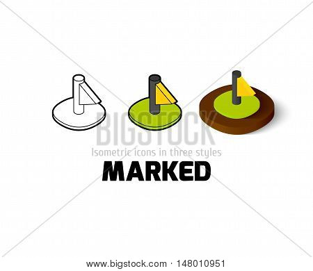 Marked icon, vector symbol in flat, outline and isometric style