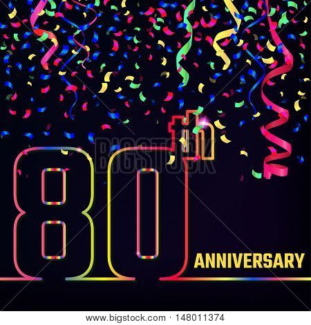 Vector Illustration of Anniversary 80th Outline for Design, Website, Background, Banner. Jubilee silhouette Element Template for festive greeting card. Shiny colorful Confetti celebration