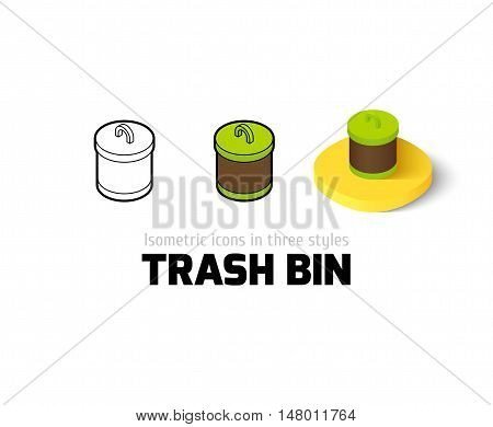 Trash bin icon, vector symbol in flat, outline and isometric style