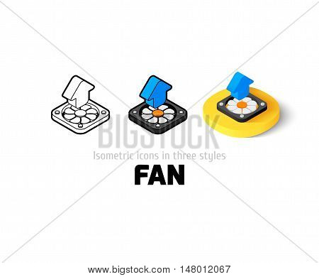 Fan icon, vector symbol in flat, outline and isometric style