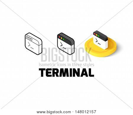 Terminal icon, vector symbol in flat, outline and isometric style