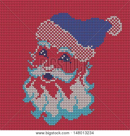 Vector Illustration of Ugly sweater for Design, Website, Background, Banner. Merry christmas Knitted Retro cloth with Santa Claus Element Template