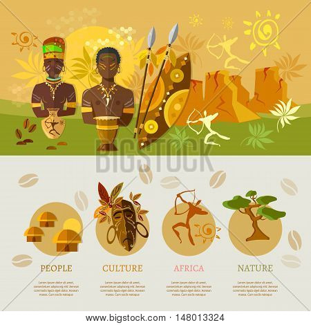 African infographic elements banner Africa culture and traditions vector illustration