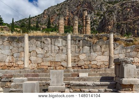 Columns in Ancient Greek archaeological site of Delphi, Central Greece