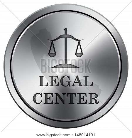 Legal Center Icon. Round Icon Imitating Metal.