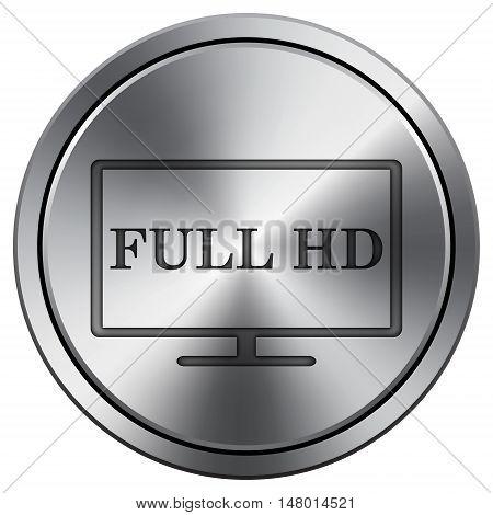 Full Hd Icon. Round Icon Imitating Metal.