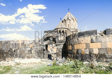 Cyclopean wall with oval entrance around the medieval monastery Ohanavank