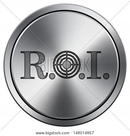 Roi Icon. Round Icon Imitating Metal.