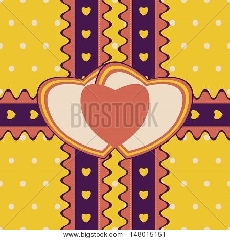 Romantic gift design with two stitched ribbons and double heart-shaped greeting card on cute polka dot background. Seamless vector illustration in bright retro color palette