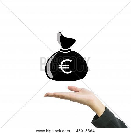 Closeup a money bag in euro currency on working woman hand isolated on white background in business concept with clipping path