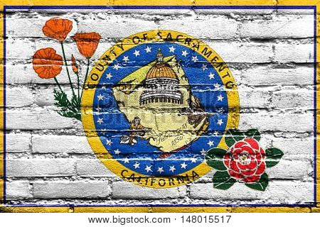Flag Of Sacramento County, California, Usa, Painted On Brick Wall