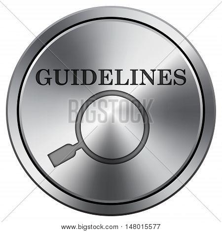 Guidelines Icon. Round Icon Imitating Metal.