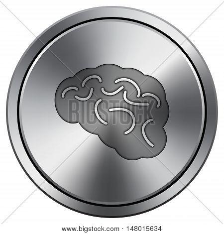 Brain Icon. Round Icon Imitating Metal.