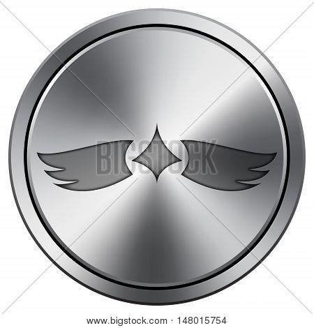 Wings Icon. Round Icon Imitating Metal.