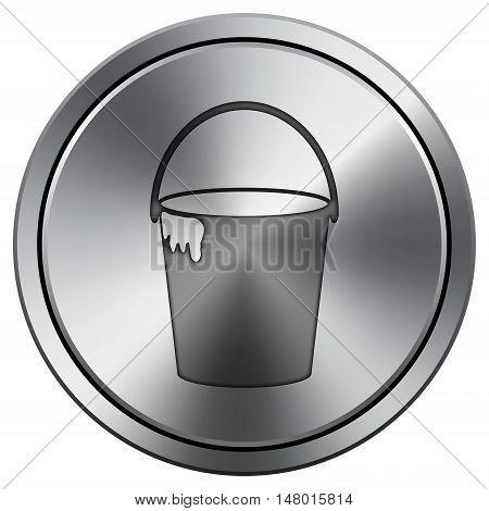 Bucket Icon. Round Icon Imitating Metal.