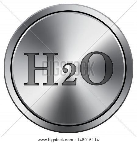 H2O Icon. Round Icon Imitating Metal.