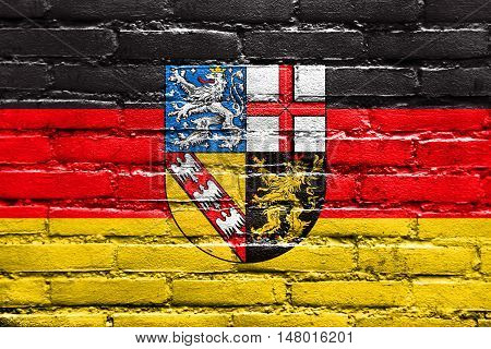 Flag Of Saarland, Germany, Painted On Brick Wall