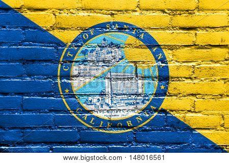 Flag Of Santa Ana, California, Usa, Painted On Brick Wall
