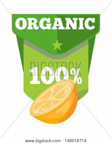Organic natural fruit juice label template with orange half. Vector illustration