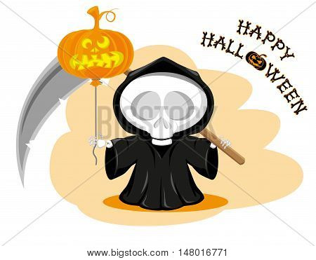 Funny little death with a large scythe and air balloon with title Happy Halloween isolated on white background. Cartoon style. Vector illustration
